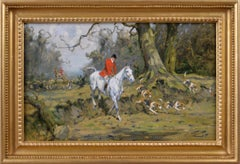 Sporting oil painting of horses & hounds hunting