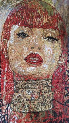 Painting, Textured, Red, Gold Leaf, Bold, Expressive - Judith by George Yepes