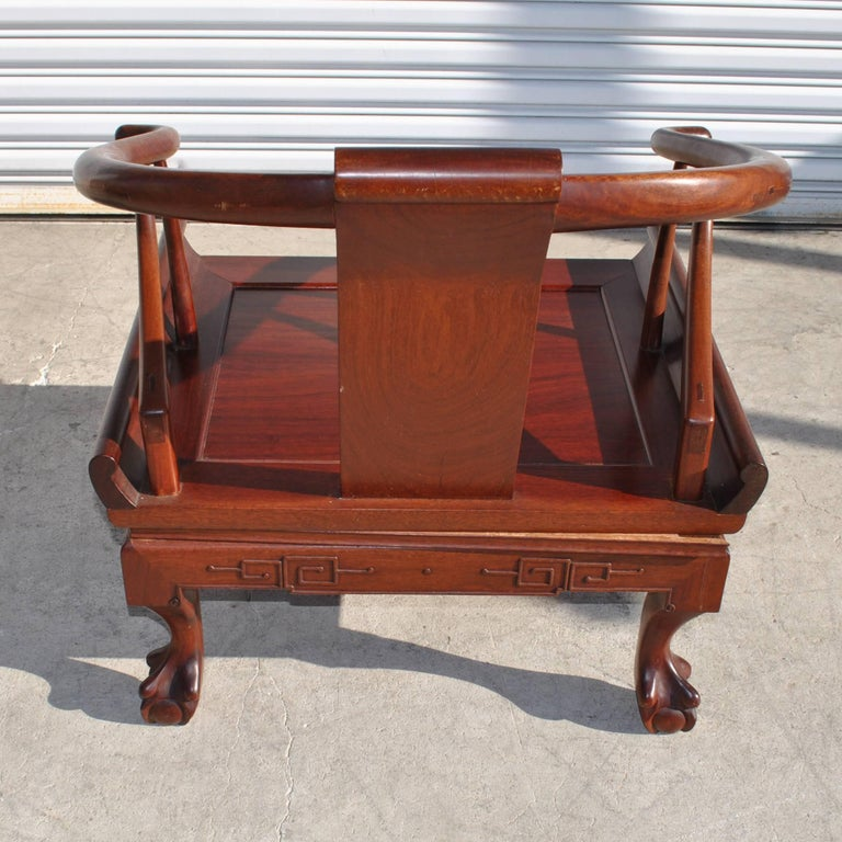 George Zee Chinese Ming Style Horseshoe Chair in Rosewood In Good Condition For Sale In Pasadena, TX