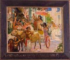 Rochegrosse, 19th C French oil painting, 'Moses being taken to the pharaoh'