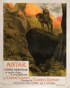 "Original Antique French Poster ""Antar"" by Georges Rochegrosse, Stone-Lithograph"
