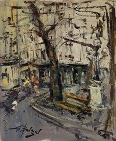 Mid Century French Post-Impressionist Signed Oil - Montmartre Paris Street Scene