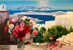 Large Colorful French Oil Painting Greek Island Landscape Flowers George Blouin