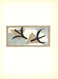 1959 Georges Braque 'En Vol' Cubism Brown France Lithograph