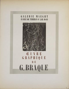 1959 After Georges Braque 'Galerie Maeght' Cubism Brown,Gray France Lithograph
