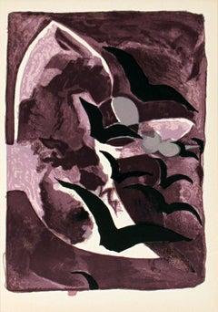 1964 Georges Braque 'Les Oiseaux de Nuit' Cubism Purple France Lithograph