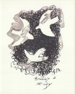1965 Georges Braque 'Composition' Cubism France Lithograph