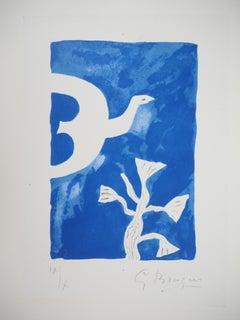 Bird and Lotus - Original lithograph, Handsigned, Ltd / 10 - Mourlot #92)