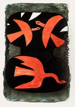 Birds - Vintage Offset Print after Georges Braque - 1970s