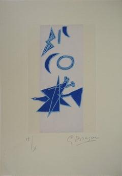Blue Bird under Moon - Original etching, Handsigned, Ltd 10 copies (Orozco #457)