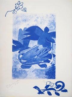 Blue Water Lilies - Original lithograph, hand signed (Mourlot)