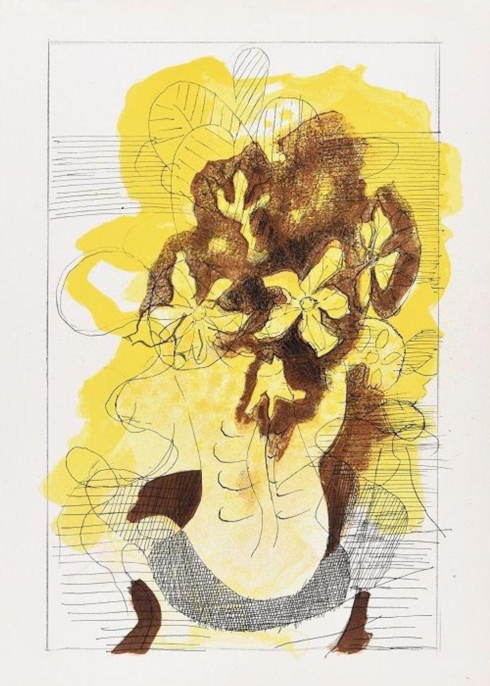 """Bouquet  - Original Lithograph for Revue """"Verve"""" by Georges Braque - 1955"""