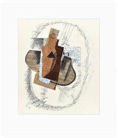 Composition au Violon et Journal découpé - Lithograph by G. Braque - 1963