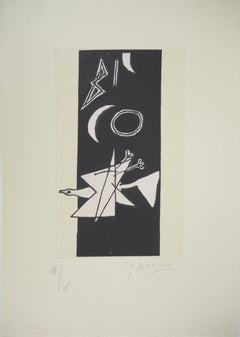 Flying Bird & Moon - Original etching, Handsigned, Ltd / 10 copies (Orozco #456)