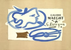 "Georges Braque-Galerie Maeght-20.5"" x 28.25""-Lithograph-Cubism-Brown, Blue"