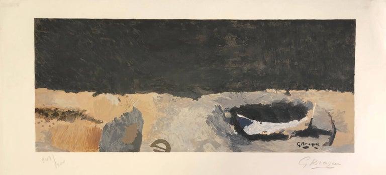 Georges Braque Landscape Print - La barque sur la grève - Original Lithograph by G. Braque - 1960