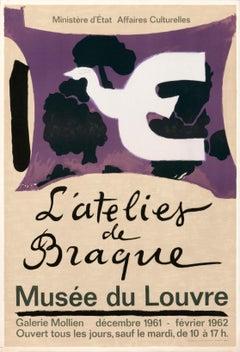 """""""L'atelier de Braque, Musee du Louvre"""" Original Vintage Cubist Exhibition Poster"""