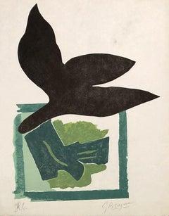 Black Bird On Green Background - Original woodcut handsigned - 50 copies