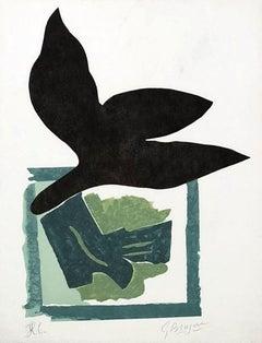 Oiseau noir sur fond vert - Original woodcut handsigned - 50 copies
