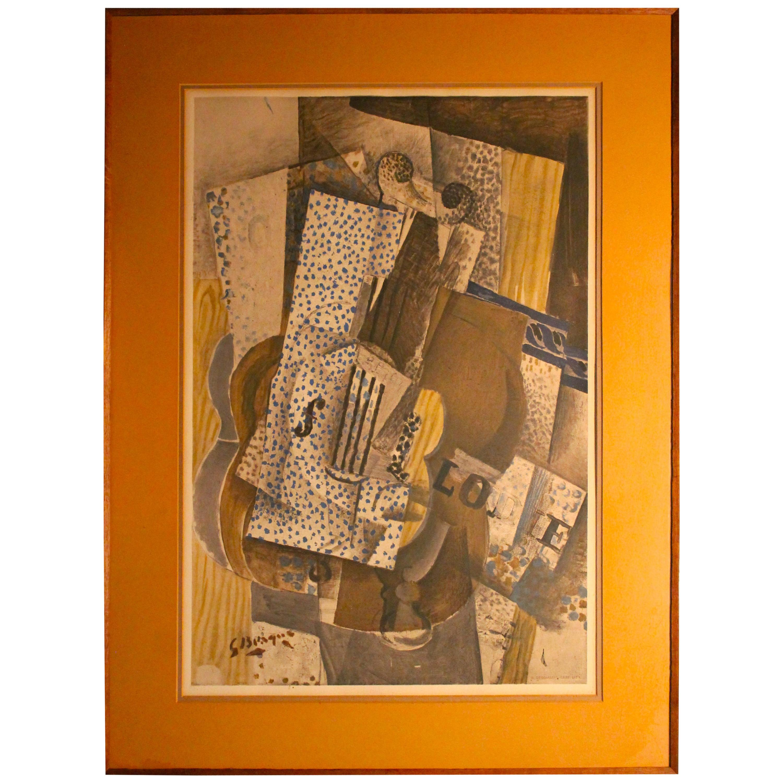 "Georges Braque ""Violin Melodie"" Cubism H. Deschamps Lithographic Reproduction"
