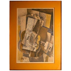 "Georges Braque ""Violin Melodie"" Cubism H. Deschamps Lithographic Reproduction"