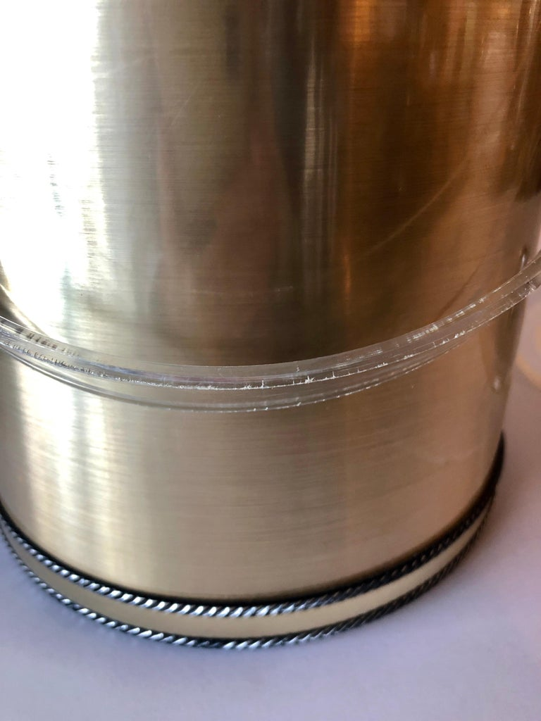 American Georges Briard Brushed Brass with Rope Accents & Lucite Handle & Top Ice Bucket For Sale