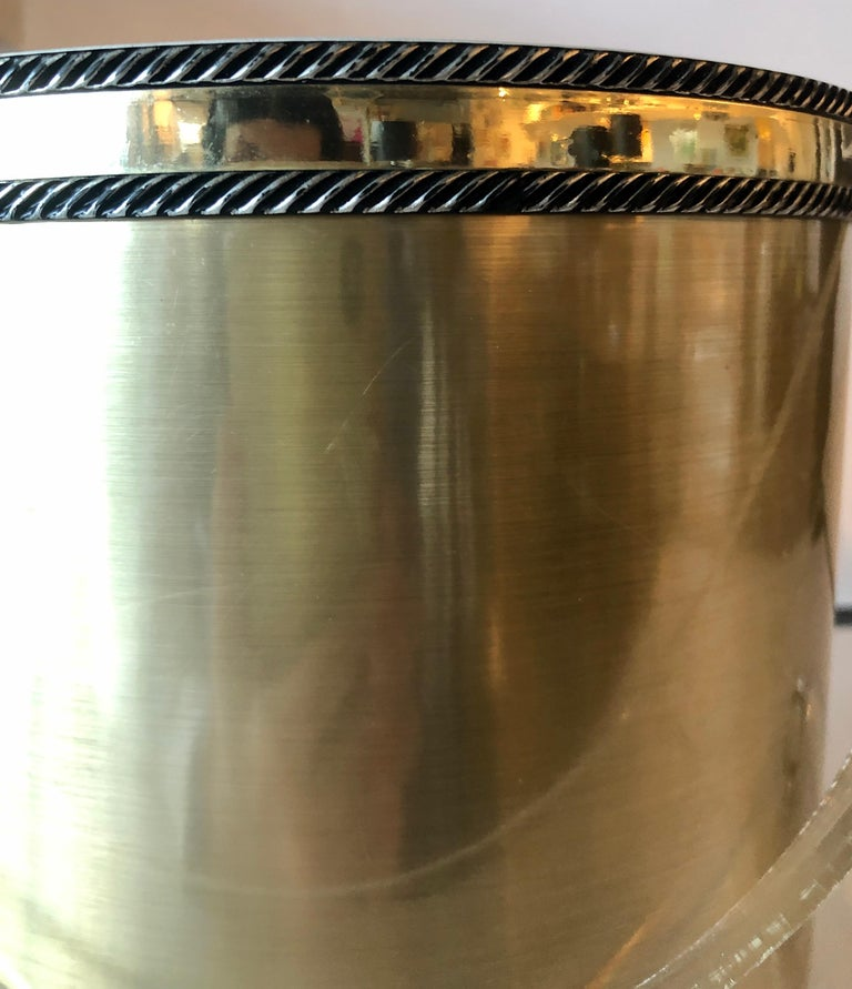 Georges Briard Brushed Brass with Rope Accents & Lucite Handle & Top Ice Bucket In Good Condition For Sale In Houston, TX