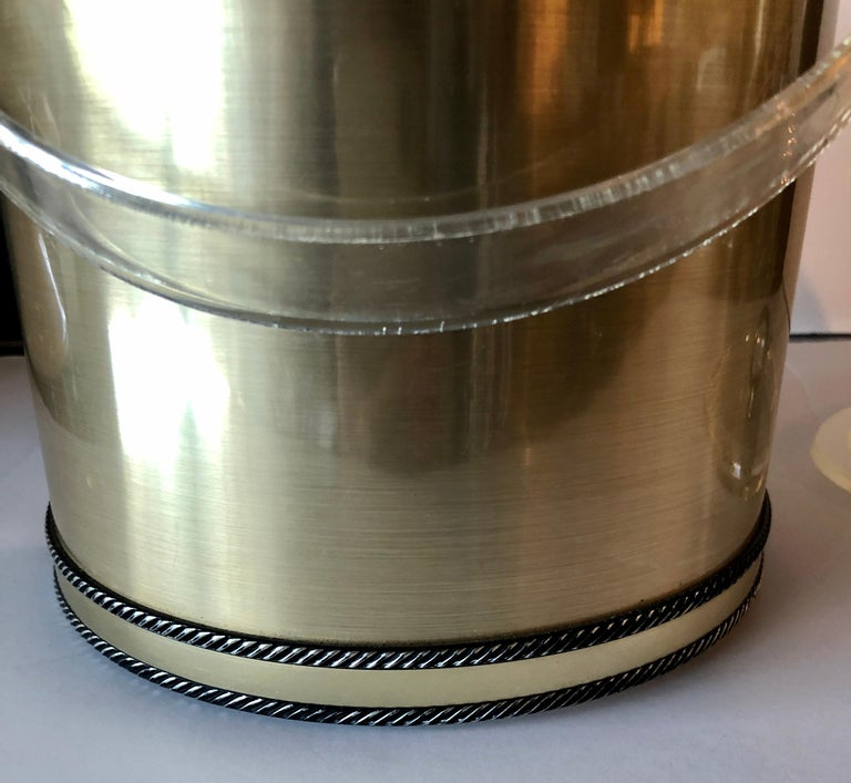 20th Century Georges Briard Brushed Brass with Rope Accents & Lucite Handle & Top Ice Bucket For Sale