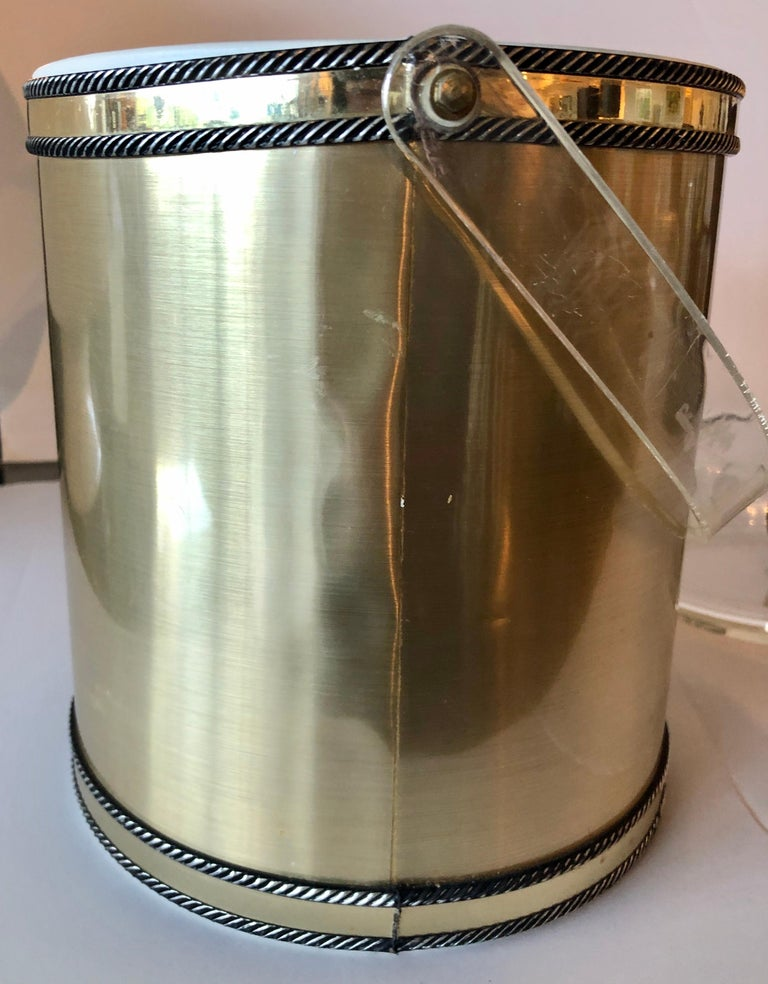 Metal Georges Briard Brushed Brass with Rope Accents & Lucite Handle & Top Ice Bucket For Sale