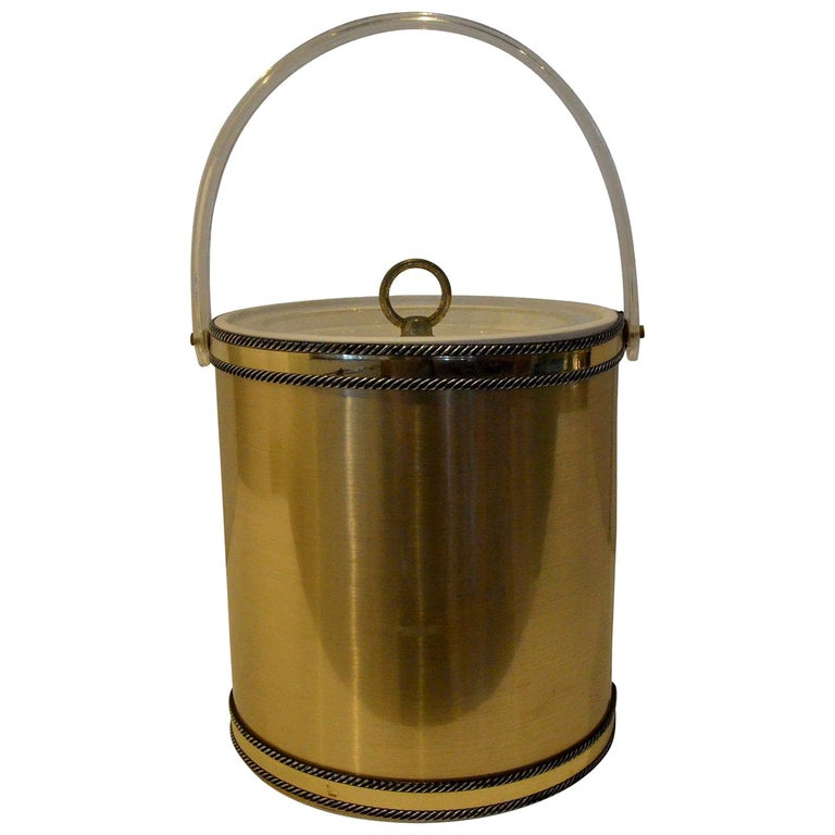 Georges Briard Brushed Brass with Rope Accents & Lucite Handle & Top Ice Bucket For Sale