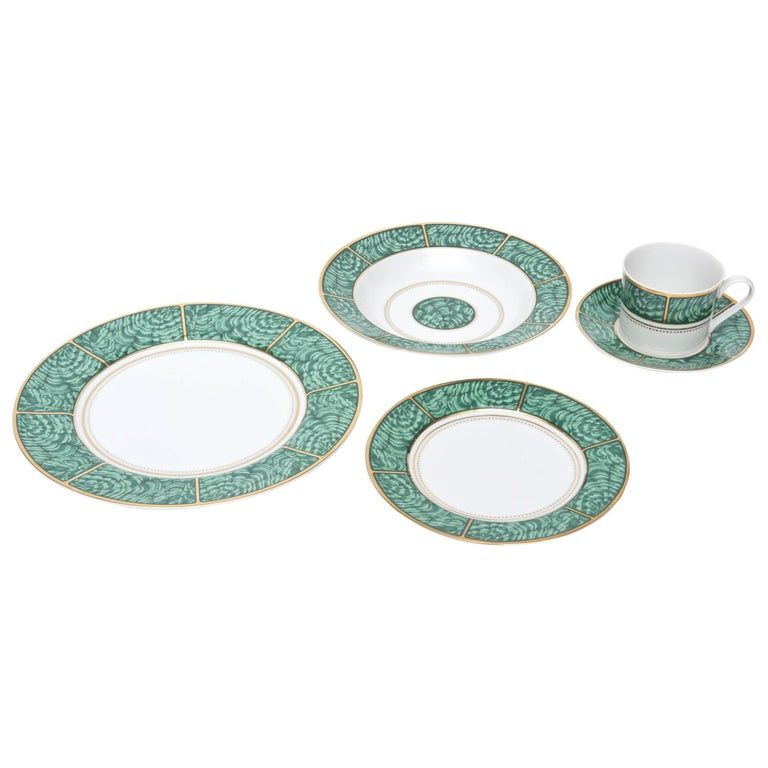 Georges Briard Imperial Malachite Porcelain China Service Vintage For Sale