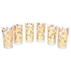Georges Briard Gold and Clear Glass Highballs Mid Century Modern Barware