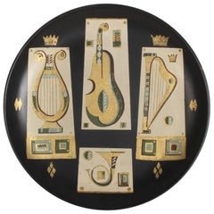 Georges Briard Music Themed Hand Painted Tole Tray or Wall Plaque, circa 1955