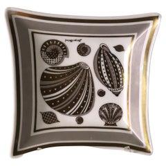 Georges Briard Seashells Square Milk Glass Decorative Candy Dish