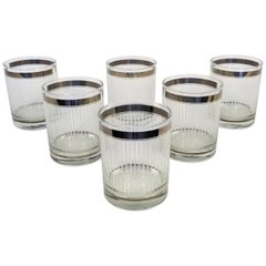 Georges Briard Signed Glassware or Barware Set of 6 Silver Midcentury