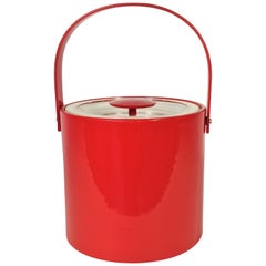 Georges Briard Signed Red Ice Bucket Midcentury