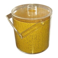 Georges Briard Yellow Embedded Raffia Lucite Covered Ice Bucket