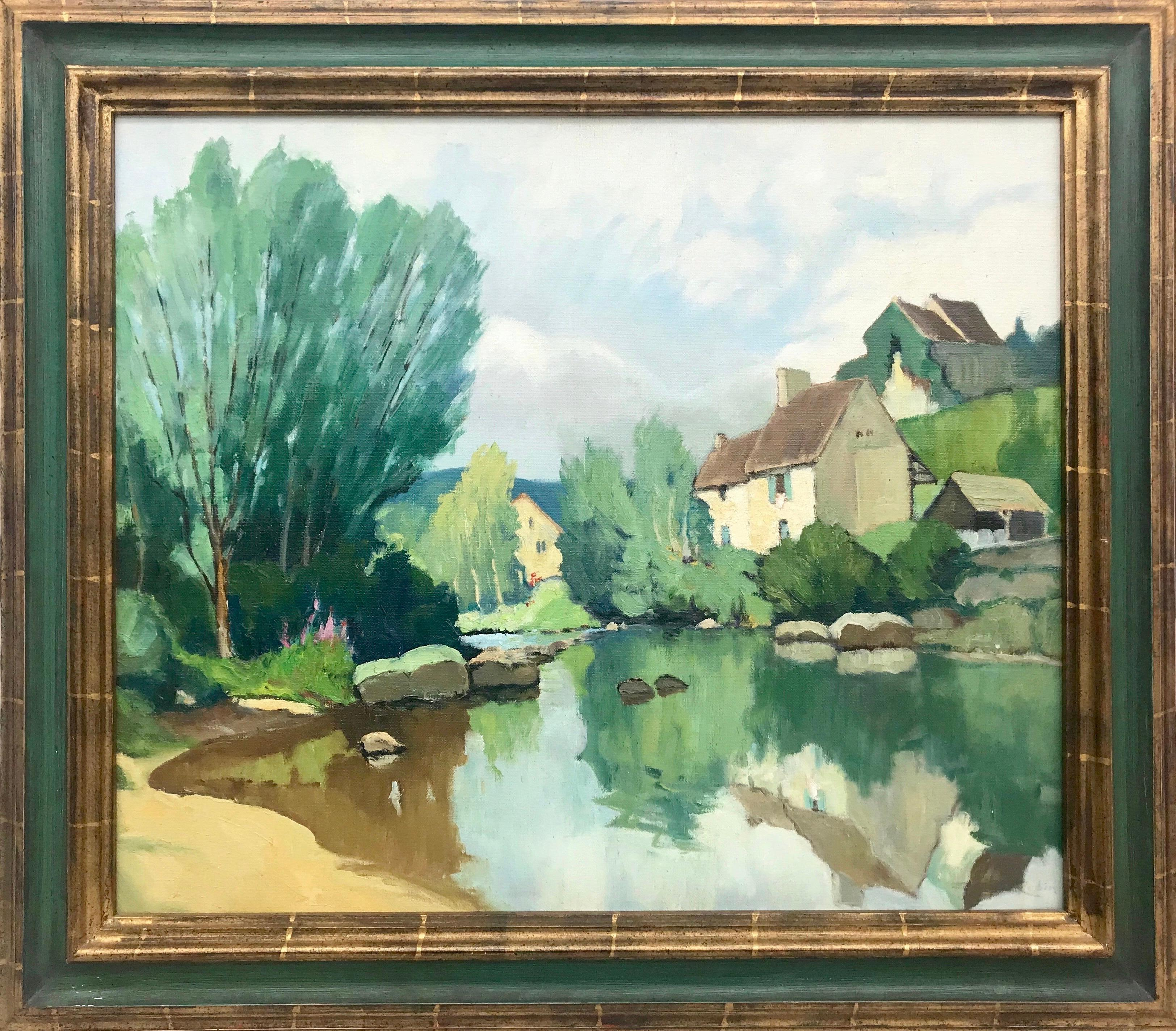 20th Century Riverside Impressionist Landscape Painting by Modern French Artist