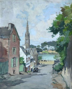 Benodet - Brittany - 20th Century Oil, River in Town Landscape by G C Robin