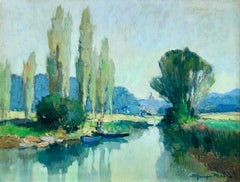 Bords du Loing pres de Fontenay - River in Landscape by Georges Charles Robin