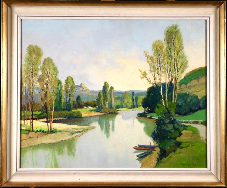 Dordogne River - Post Impressionist Oil - Landscape by Georges Charles Robin For Sale 1