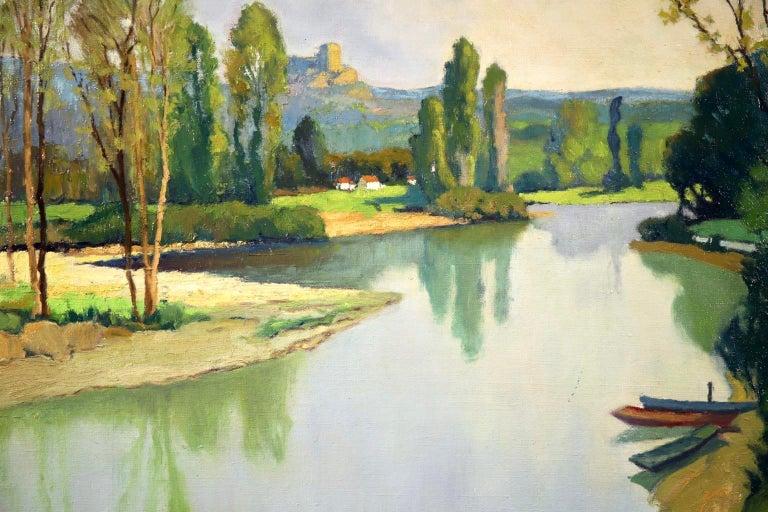 Dordogne River - Post Impressionist Oil - Landscape by Georges Charles Robin For Sale 2