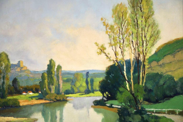Dordogne River - Post Impressionist Oil - Landscape by Georges Charles Robin For Sale 3