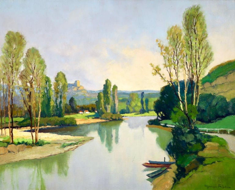A wonderful oil on canvas by sought after French post impressionist painter Georges Charles Robin depicting a view of the Dordogne river near Bretenoux, France. The piece shows the lush green trees reflecting in the river on a summer's day in the