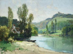 La Dordoge a Taillefer - 20th Century, Cottage in Riverscape Landscape by Robin