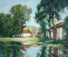 La ferme et la mare près de Berck-sur-Mer - Impressionist Landscape by G C Robin