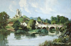 Lavardin, Loir-et-Cher - 20th Century Oil, French Village Riverscape by Robin