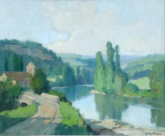 L'Aveyron a Montrozier - 20th Century Oil, River in Landscape by Georges Robin