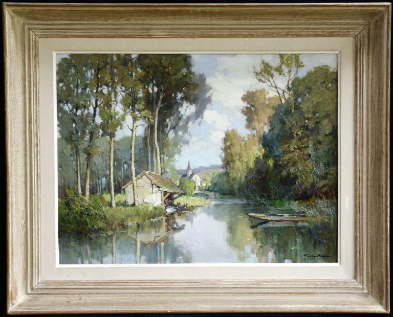 Lavoir sur L'Eure- 20th Century Oil, River & Trees in Landscape by Georges Robin - Painting by Georges Charles Robin