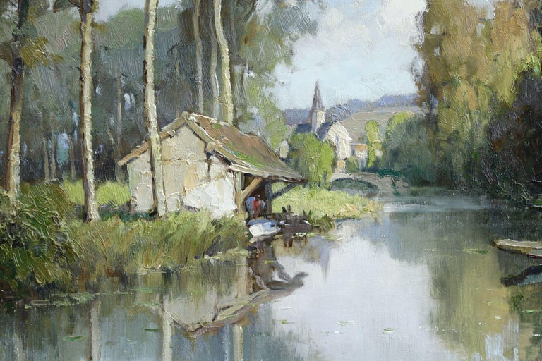 Lavoir sur L'Eure- 20th Century Oil, River & Trees in Landscape by Georges Robin - Post-Impressionist Painting by Georges Charles Robin